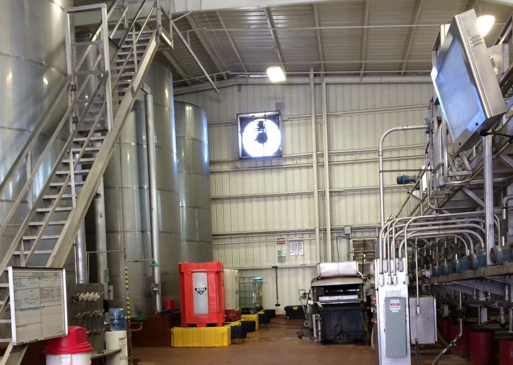 Industrial TV Cabinet in a beverage processing plant.
