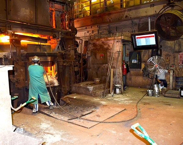 Industrial TV Enclosure in a metal foundry.